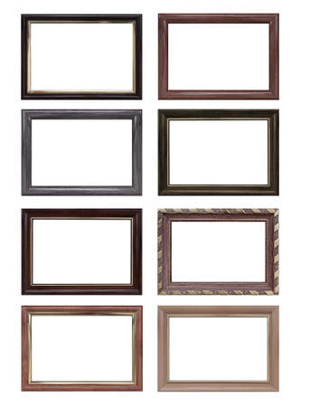 Set of empty picture frames with free space inside, isolated on white background