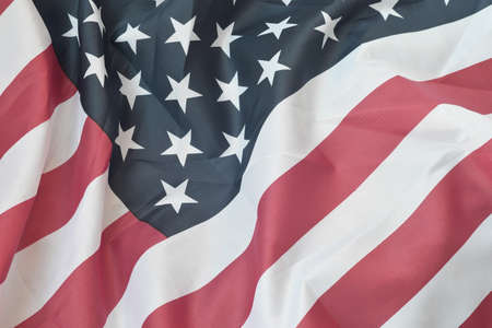 United States of America waving flag with many folds. Patriotic background for american holidays design Foto de archivo