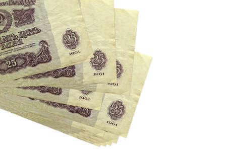 25 russian rubles bills lies in small bunch or pack isolated on white. Mockup with copy space. Business and currency exchange concept