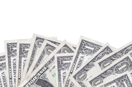 1 US dollar bills lies on bottom side of screen isolated on white background with copy space. Background banner template for business concepts with money