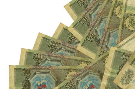 500 russian rubles bills lies in different order isolated on white. Local banking or money making concept. Business background banner