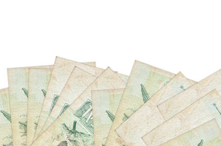 1 Brazilian real bills lies on bottom side of screen isolated on white background with copy space. Background banner template for business concepts with money