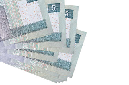5 Egyptian pounds bills lies in small bunch or pack isolated on white. Mockup with copy space. Business and currency exchange concept
