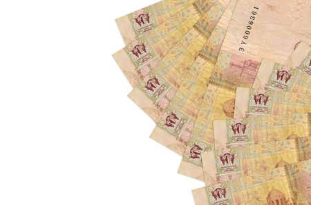 2 Ukrainian hryvnias bills lies isolated on white background with copy space. Rich life conceptual background. Big amount of national currency wealth