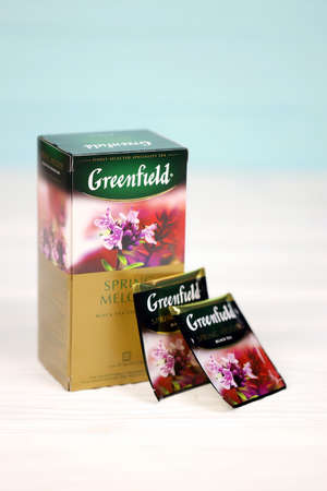KHARKOV, UKRAINE - DECEMBER 8, 2020: Greenfield Spring Melody tea bags. Greenfield tea manufactured by Orimi Trade and Greenfield Tea ltd.