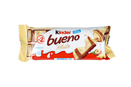 KHARKOV, UKRAINE - DECEMBER 8, 2020: Bueno by Kinder brand made by Ferrero SpA. Kinder is a confectionery product brand line of Italian multinational manufacturer Ferrero