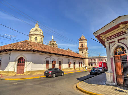 Granada, Nicaragua : Historical center in sunny weather, HDR Image Stock Photo