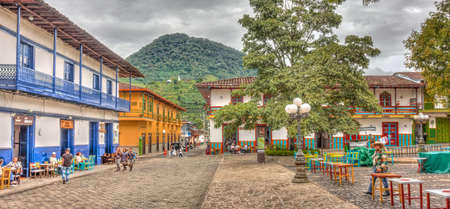 Jardin, Colombia - May 2019 : Picturesque village in cloudy weather, HDR Image Editorial