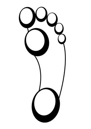 fu�sohle: Fu�abdruck Fu�sohle Spur schwarzen und wei�en Oberfl�che F��en ovale Form Illustration
