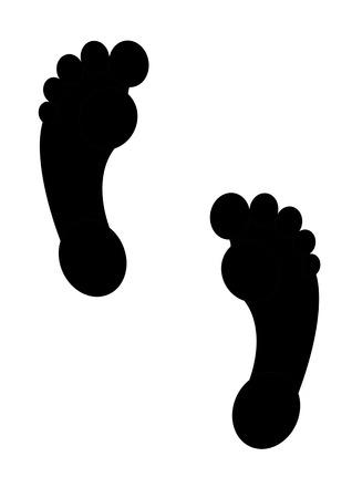 fu�sohle: Fu�abdruck Fu�sohle Spur schwarze Oberfl�che F��en oval shapefoot Drucksymbol Illustration