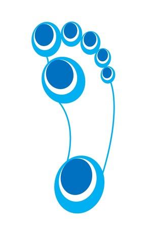fu�sohle: Fu�abdruck Fu�sohle Spur blauen und wei�en Oberfl�che F��en oval shapefoot Druck Illustration