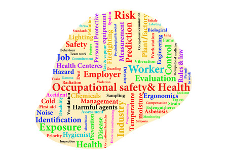 occ: Occupatonal safety and health typography helmet Illustration
