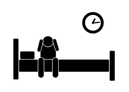 Schlaflosigkeit schwarze Ikone Uhr Uhr Bett halten den Kopf mit den Händen