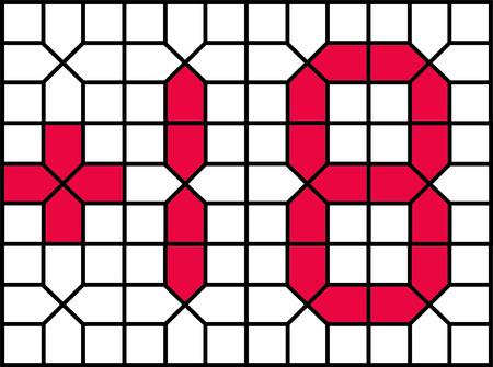 18 vector number persian islamic number seven segment artistic arabeque  18