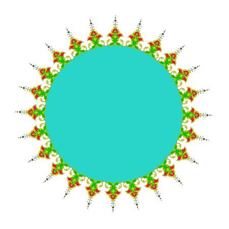 lattice frame:  round persian islamic frame tazhib vector Illustration