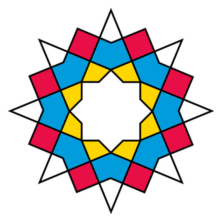 persian islamic star in a geometric pattern  Vector