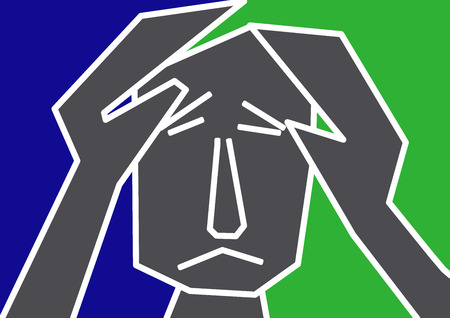 burn out: ongelukkige man gevoel blauw en depressie hand in hand op zijn hoofd