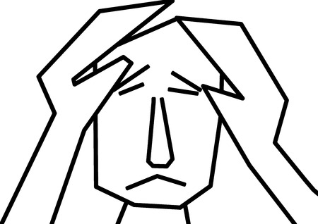 burn out: unhappy man feeling blue and depression in black and white clipart Illustration