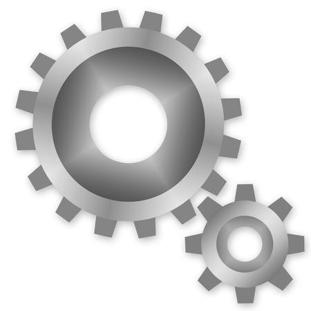 Zwei Zahnräder oder Getriebe arbeiten zusammen Illustration