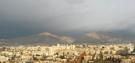 uptown: landscape view of tehran iran capital metropolitan city wallpaper Stock Photo