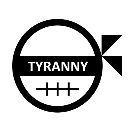 tyrant: blind fold and sewed mouth man symbolize tyranny and oppression
