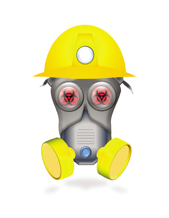 over lab: full protected worker by mask or industrial respirator showing biological hazard icon in red eyes