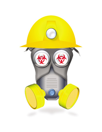 full protected worker by mask or industrial respirator showing biological hazard icon in eyes Vector