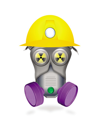 full protected worker by mask or industrial respirator showing biological hazard icon in yellow eyes Vector