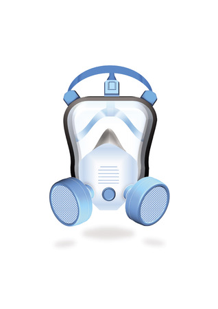 over lab: full protected worker by mask or industrial respirator Illustration
