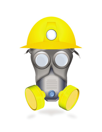 over lab: icon of industrial protection by mask and helmet isolated on white background