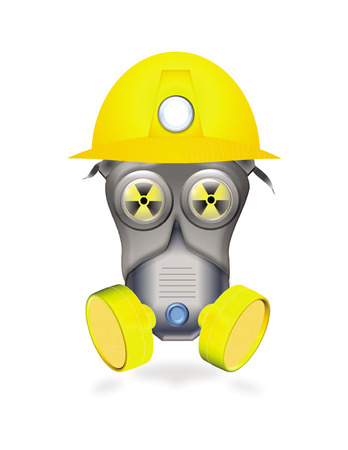 full protected worker by mask or industrial respirator showing radiological hazard icon in eyes Vector