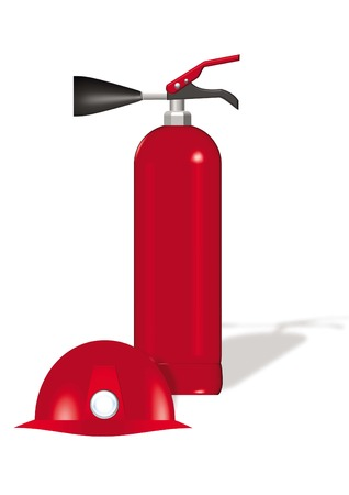 oxide: carbon mono oxide extinguisher and red safety helmet vector