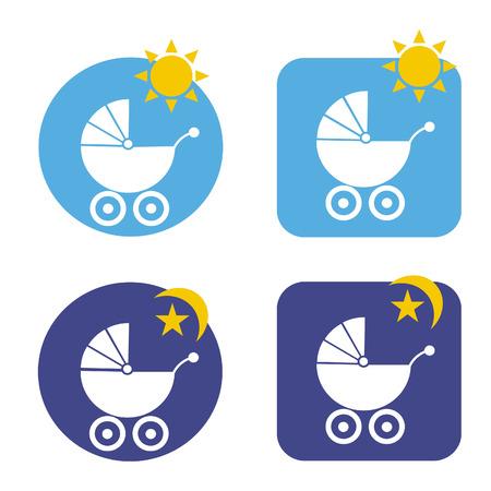 perambulator: 4 day and night icon vector for perambulator or carriage