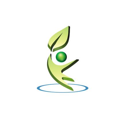 logo recyclage: logo 3D de l'environnement montre un homme tenant une feuille dans un cercle