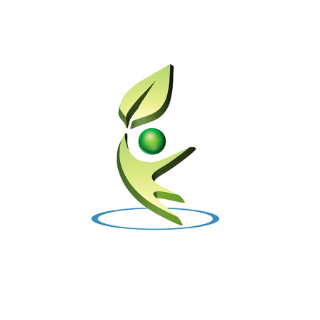 environmental 3d logo shows a man holding up a leaf in a circle