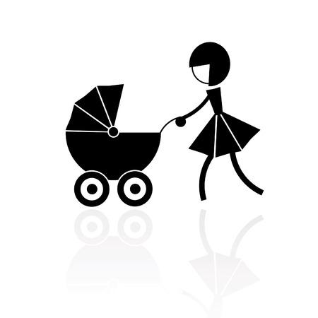 perambulator: fashion girl pushing a perambulator or carriage Illustration