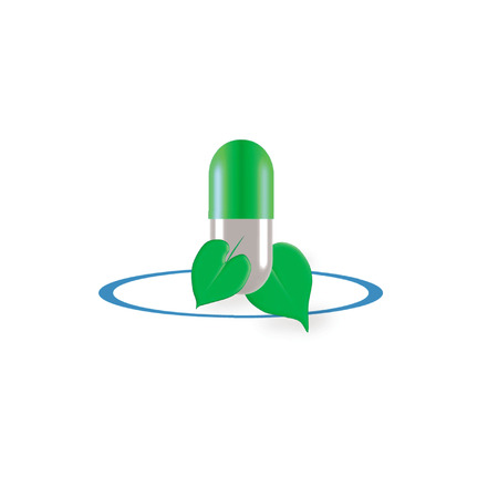 complimentary: organic capsule logo with 2 green ivy leaves isolated on white