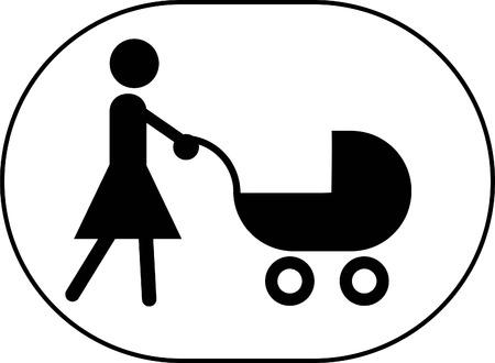perambulator: vettore simlple di una madre che spinge una carrozzina