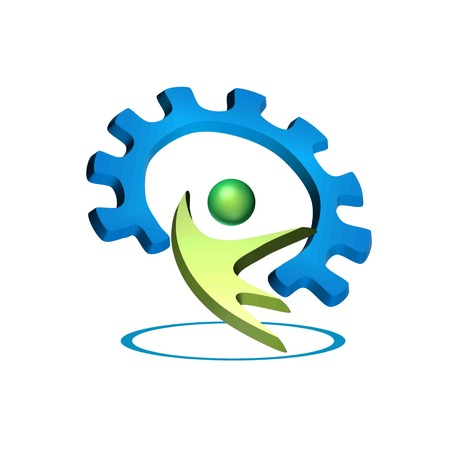 3d symbol shows a man holding up a gear in a circle Vector