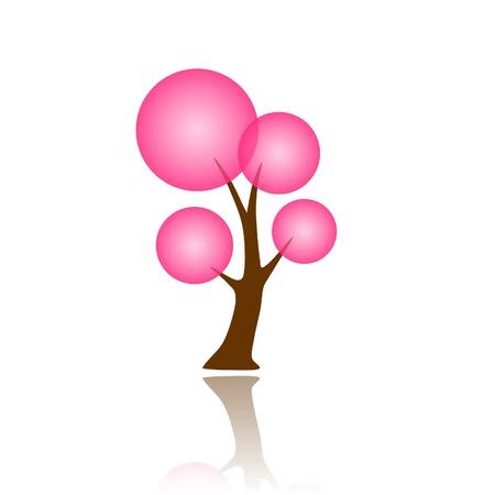 Dreamy simple pink tree icon Vector