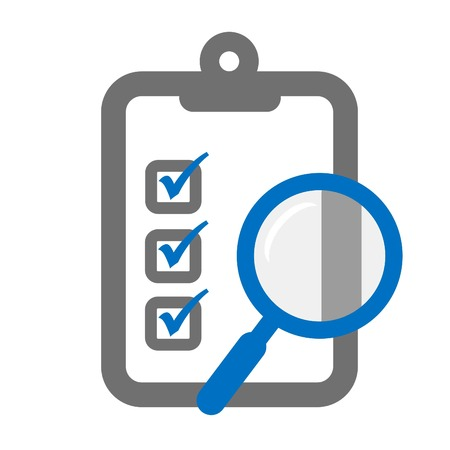 Clipboard with a magnifier symbolizing assessment checklist Çizim