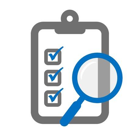 Klembord met een vergrootglas symbool van assessment checklist Stock Illustratie