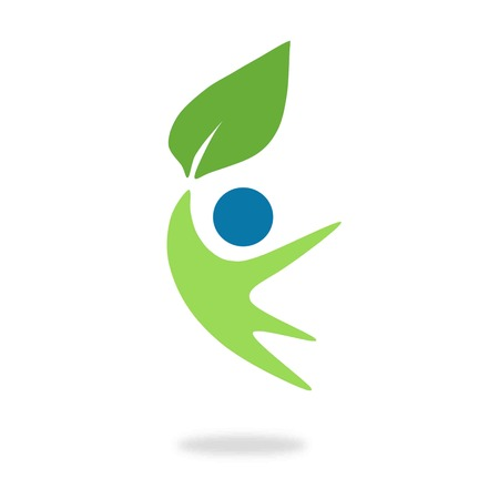 environmental symbol shows a happy man holding up a leaf and jumping to air