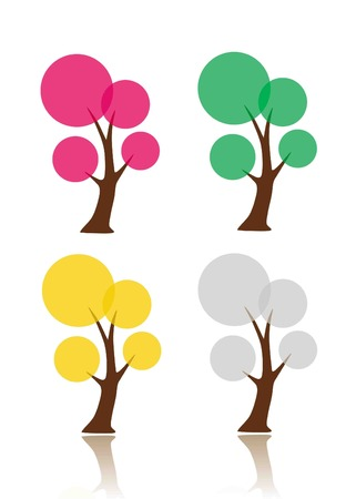 Set of simple bubble trees symbolizing seasons Vettoriali