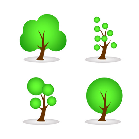 tree canopy: Set of simple green circular trees