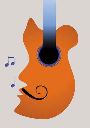 abstract guitar imaging a mustachio man singing Vector