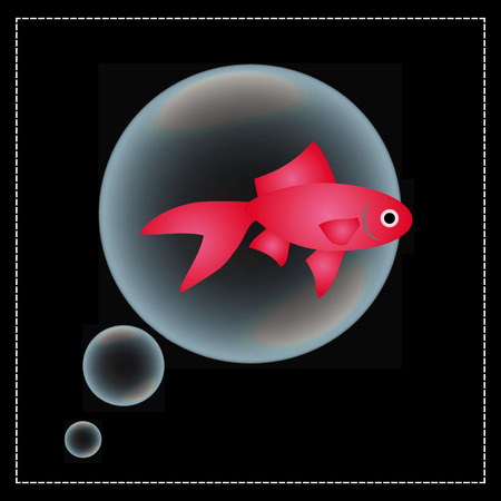 red fish on black background and bubbles Illustration