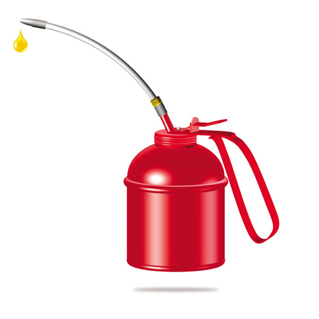 oil can: 3d red oiler illustration on white background
