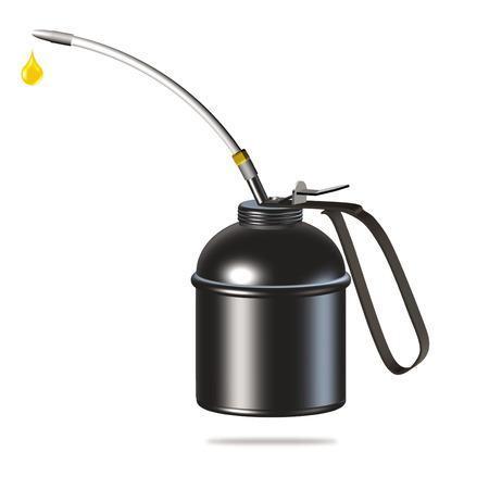 black oiler or oil can illustration on white background