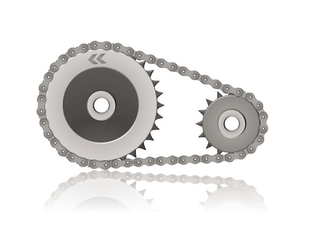 interlink: gearwheels and chain illustration reflected on white background